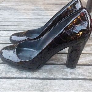 Brown Patent Leather Crocodile Embossed Pumps